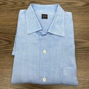 Ike Behar Solid Blue Linen Shirt L
